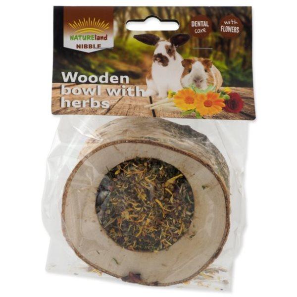 Nibble Miska plněná bylinkami dřevěná